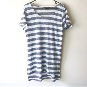4/$25 Primark Grey & White Striped Long Tee/Tunic